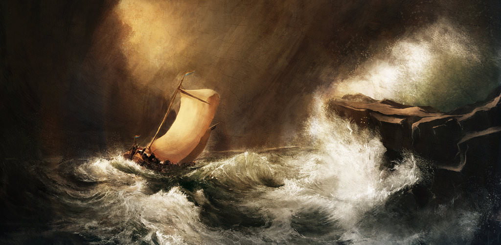 Dutch boat in a Storm