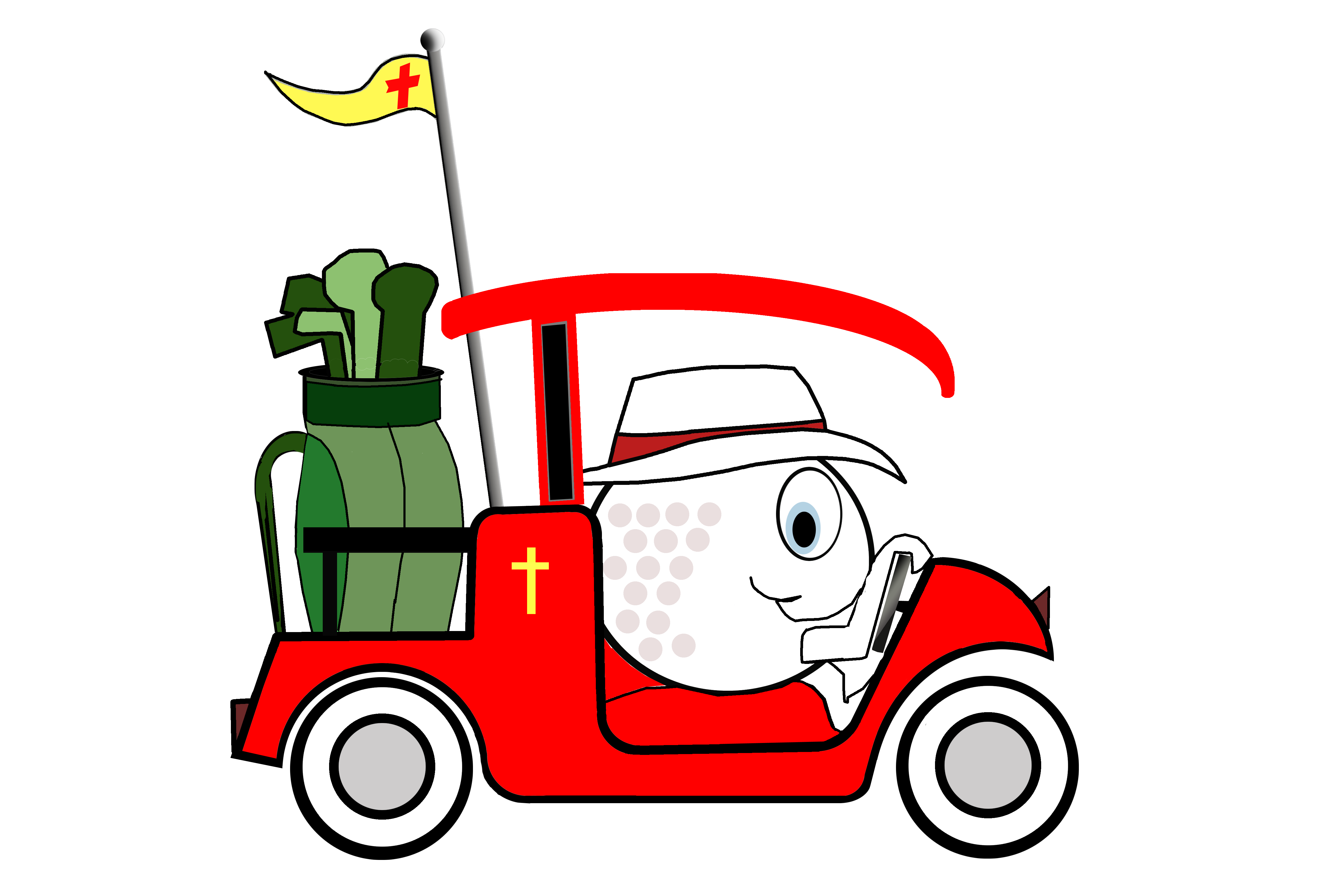 Cartoon: golf ball driving a golf cart